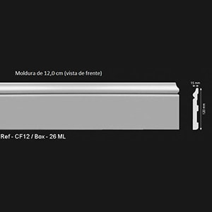 Rodapés Classic HD-CF - CF12 - Moldura 12,0cm (Vista de Frente)